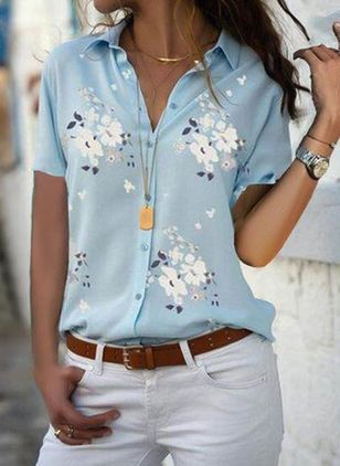 Floral Casual Collar Short Sleeve Blouses (1609884)