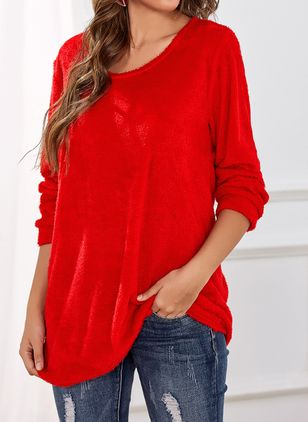 Round Neckline Solid Casual Loose Long Shift Sweaters (1386446)