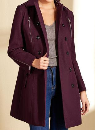 Long Sleeve Collar Buttons Coats Jackets (4101645)