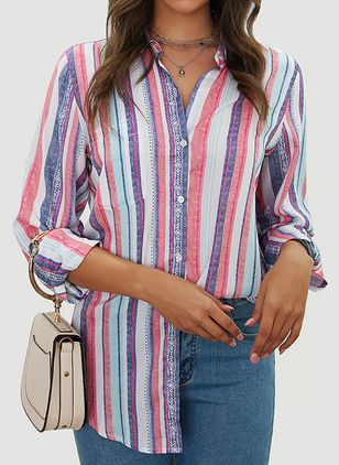 Stripe Casual V-Neckline Long Sleeve Blouses (103038325)