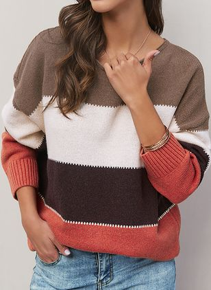 Round Neckline Stripe Casual Regular Shift Sweaters (1390642)