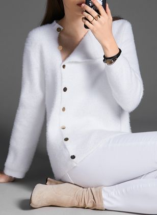 Collar Solid Elegant Tight Regular Buttons Sweaters