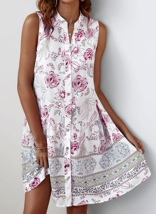 Chic Floral V-Neckline Mini A-line Dress (103038247)