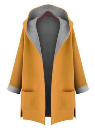 Long Sleeve Hooded Pockets Trench Coats
