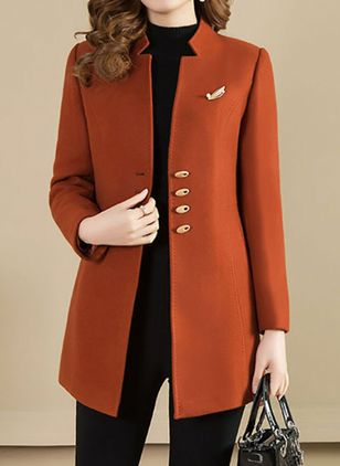 Long Sleeve Buttons Trench Coats (125152942)