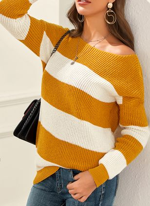 Round Neckline Stripe Casual Regular Shift Sweaters (1390231)