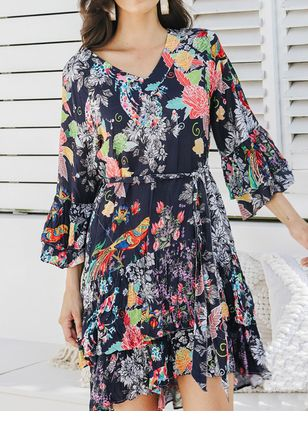 Casual Floral Shirt V-Neckline Shift Dress (106704253)