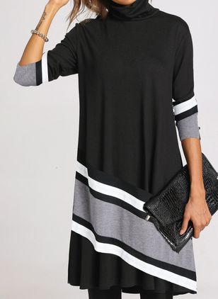 Casual Color Block Tunic High Neckline Shift Dress (103038189)