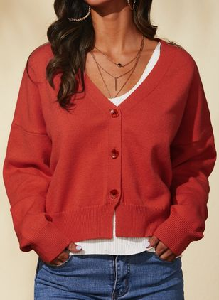 V-Neckline Solid Casual Regular Shift Sweaters (1435844)
