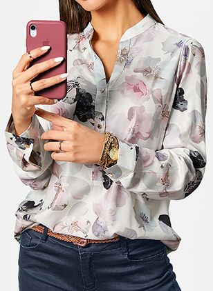 Floral Casual V-Neckline Long Sleeve Blouses (103038385)