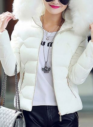 Long Sleeve Hooded Zipper Removable Fur Collar Padded Coats (1489187)