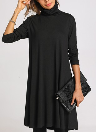 Casual Solid Long Sleeve Knee-Length Dress (1355996)