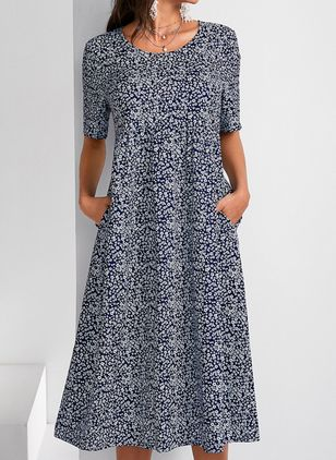 Casual Floral Round Neckline Midi A-line Dress (103038212)