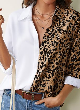 Leopard Casual Collar Long Sleeve Blouses (1609879)