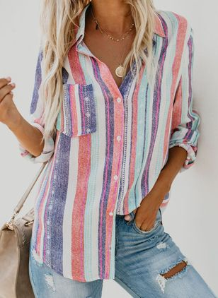 Stripe Casual Collar 3/4 Sleeves Blouses (1492285)