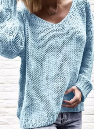 V-Neckline Solid Casual Loose Long Shift Sweaters