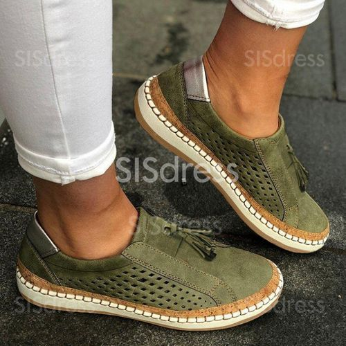 Women's Hollow out Flats Canvas Chunky Heel Sneakers